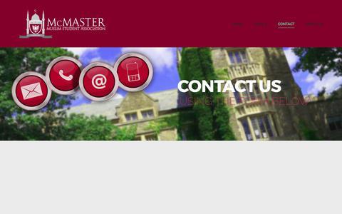 Screenshot of Contact Page macmsa.com - Contact – McMaster Muslim Students' Association - captured Oct. 18, 2017