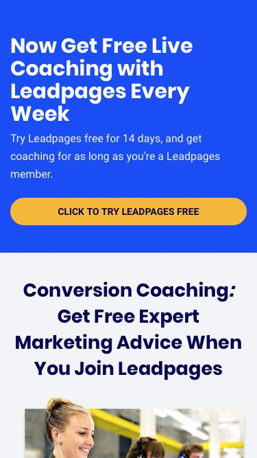 Get Free Live Coaching with Leadpages
