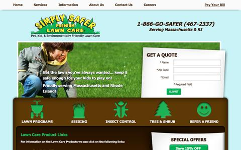 Screenshot of Products Page saferlawns.com - Simply Safer Premium Lawn Care, Inc. - Lawn Care Products - captured July 8, 2018