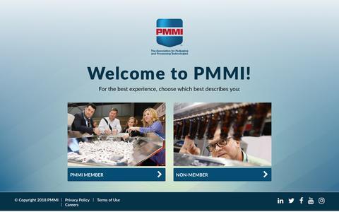 Screenshot of Login Page pmmi.org - Gateway | PMMI - captured March 2, 2018