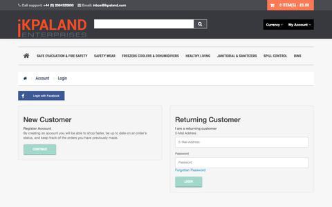 Screenshot of Login Page ikpaland.com - Account Login - captured June 29, 2017