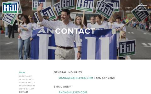 Screenshot of Contact Page hillyes.com - Contact — Andy Hill for State Senate - captured Oct. 2, 2014