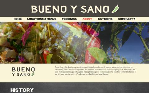 Screenshot of About Page buenoysano.com - ABOUT - Mexican Restaurant - captured July 30, 2016