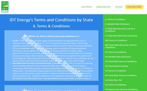 Screenshot of Terms Page idtenergy.com - IDT Energy Terms & Conditions for NY, NJ, PA, MD, IL and DC - captured Dec. 15, 2015