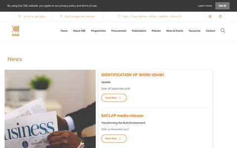 Screenshot of Press Page cbe.org.za - News - CBE - captured Sept. 29, 2018