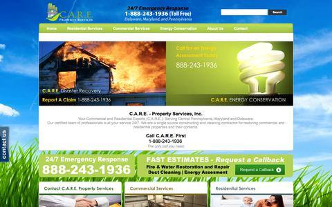 Screenshot of Home Page callcarefirst.com - C.A.R.E. Property Services, Inc Fire & Water Damage Restoration, Energy Audits, Duct Cleaning, Serving Delaware, Maryland, and Pennsylvania 888-243-1936 - captured Oct. 1, 2014