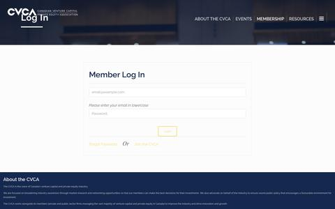 Screenshot of Login Page cvca.ca - Log In – Canadian Venture Capital and Private Equity Association - captured April 2, 2019