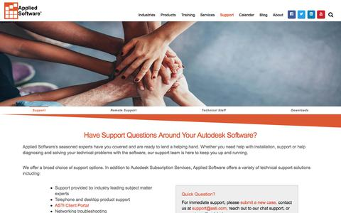 Screenshot of Support Page asti.com - Support | Applied Software Technology - captured July 19, 2018