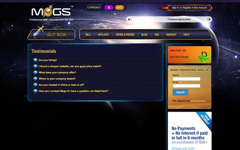 Screenshot of FAQ Page mogs.com - Professional MMO Services from the USA | MOGS.com - captured Oct. 1, 2014