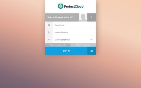 Screenshot of Login Page perfectcloud.io - Secure SmartSignin|PerfectCloud - captured July 22, 2017
