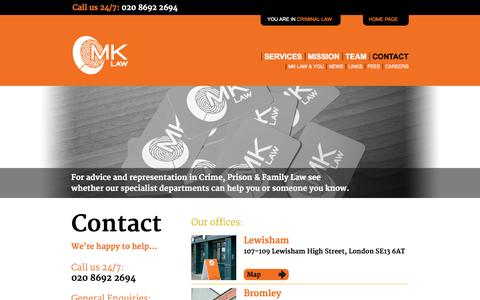 Screenshot of Contact Page mk-law.co.uk - Contact MK Law, Criminal Defence in Lewisham, Bromley & London, UK | 0845 299 8545 - captured Oct. 1, 2014