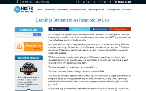 Earnings Statement As Required By Law | Foster Web Marketing