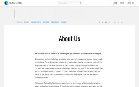 Screenshot of About Page technobuffalo.com - About Us   TechnoBuffalo - captured Sept. 21, 2018