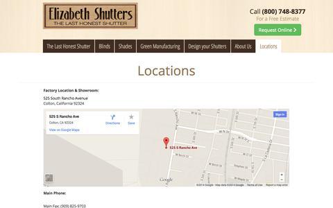 Screenshot of Locations Page elizabethshutters.com - Locations - Elizabeth Shutters - captured Nov. 1, 2014