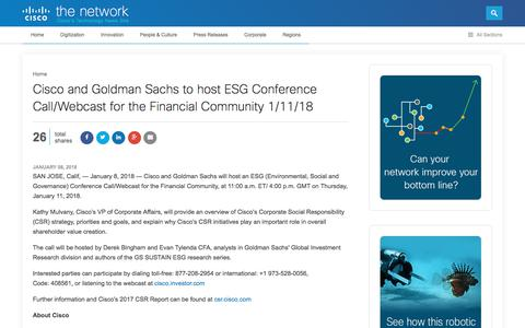 Screenshot of Press Page cisco.com - Cisco and Goldman Sachs to host ESG Conference Call on 1/11/18 | The Network - captured Jan. 20, 2018