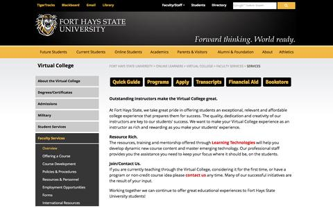 Screenshot of Services Page fhsu.edu - Faculty Services - Fort Hays State University - captured Nov. 24, 2016