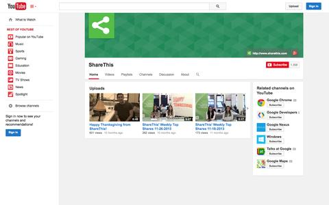 Screenshot of YouTube Page youtube.com - ShareThis  - YouTube - captured Oct. 22, 2014