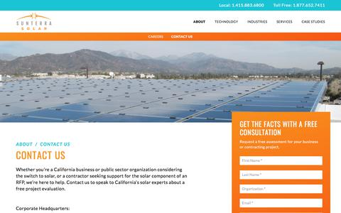 Screenshot of Contact Page sunterrasolar.com - Solar Consultation - Solar Power in California | Sunterra Solar - captured Oct. 25, 2017