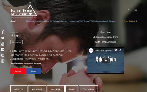 Screenshot of Home Page faithfarm.org - Faith Based Drug Rehabilitation - Faith Farm Ministries - captured Oct. 10, 2018