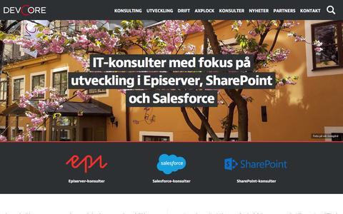 Screenshot of Home Page devcore.se - IT-konsult / Webbutveckling / EPiServer / SharePoint / Konsulter   DevCore AB - captured Feb. 9, 2016
