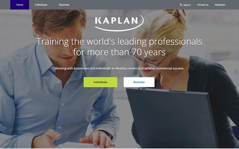 Screenshot of Home Page kaplan.co.uk - Accountancy, Bookkeeping, Tax and Finance Training Courses | Kaplan UK - captured Oct. 14, 2018