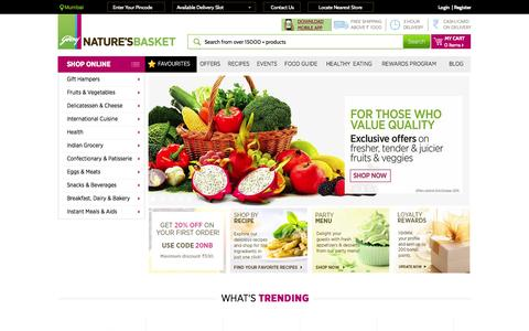 Screenshot of Home Page naturesbasket.co.in - Online Grocery Shopping - Buy Food & Grocery from Best Online Grocery Store in India - Godrej Nature's Basket - captured Oct. 1, 2015