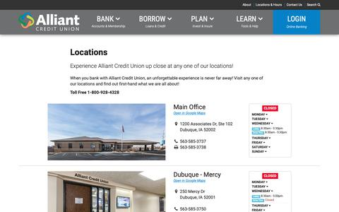 Screenshot of Locations Page alliantcu.com - Banking : Alliant Credit Union - captured Oct. 3, 2018