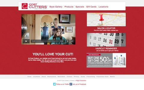 Screenshot of Home Page costcutters.com - Cost Cutters | Family Hair Salon | Haircuts and Color - captured Sept. 19, 2014