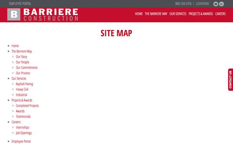 Screenshot of Site Map Page barriere.com - Site Map | Barriere Construction Co. - captured Oct. 10, 2017