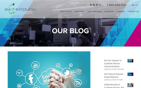 Screenshot of Blog 24-7intouch.com - Consistency is Key: Promote Dialogue and E-Commerce Purchasing on Social Sites - captured Feb. 20, 2020