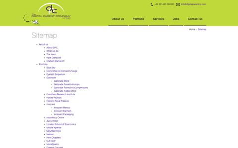 Screenshot of Site Map Page digitalparentco.com - Digital Parent Company Sitemap - captured Oct. 5, 2014