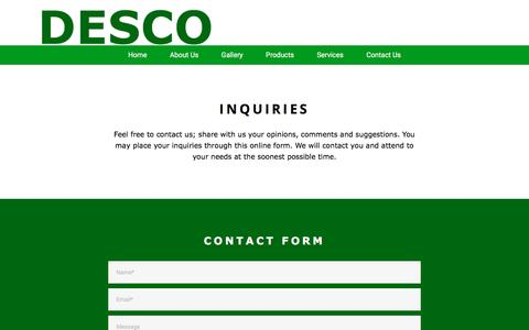Screenshot of Contact Page desco.ph - DESCO - captured Nov. 24, 2016