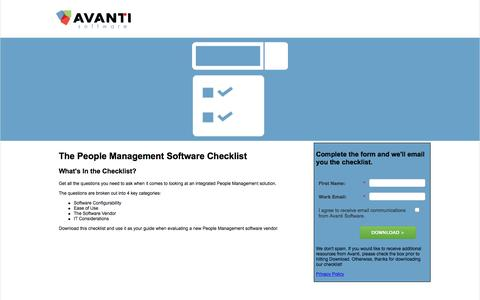 People Management Software Checklist | Avanti Software