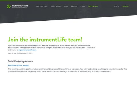 Screenshot of Jobs Page instrumentlife.com - Instrument Life Careers | Synchronized Asset Tracking | RFID Inventory Management | NFC Smartphone Scan | iLiD App from Instrument Life - captured Jan. 8, 2016