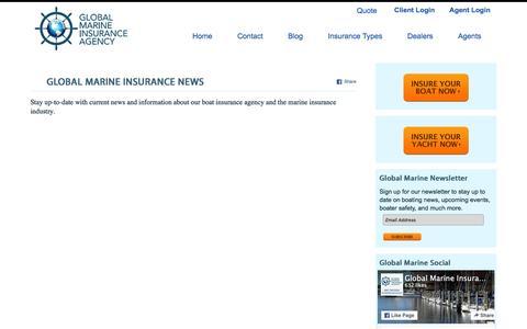 Screenshot of Press Page globalmarineinsurance.com - Global Marine Insurance: Boat Insurance Agency News - captured Jan. 29, 2016