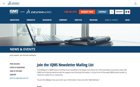 Screenshot of Signup Page iqms.com - Subscribe to eNewsletter and other IQMS news and information - captured Nov. 2, 2019