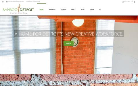 Screenshot of Home Page bamboodetroit.com - Bamboo Detroit : Coworking Space in Downtown Detroit - captured Sept. 30, 2014