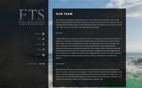 Screenshot of Team Page ftscreations.com - Our Team | FTS CreationsFTS Creations - captured Sept. 30, 2014