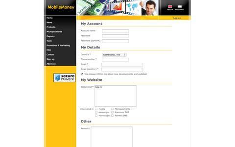 Screenshot of Signup Page mobilemoney.com - Details - MobileMoney™ - Start Your Online Business Today! - captured Sept. 19, 2014