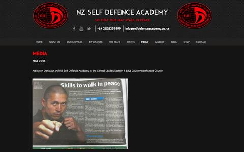 Screenshot of Press Page selfdefenceacademy.co.nz - Media - Self Defence Academy - captured Oct. 7, 2014