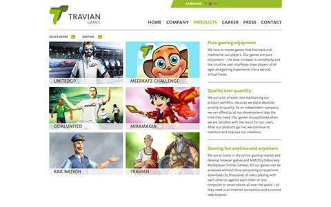 Screenshot of Products Page traviangames.com - Home: products - captured Sept. 19, 2014