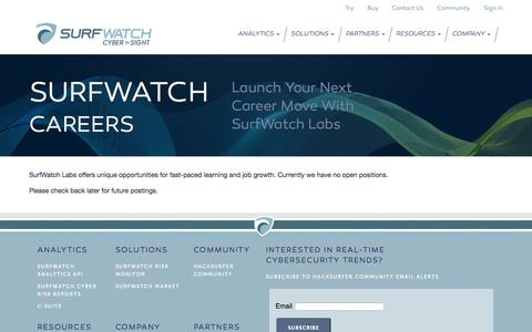 Screenshot of Jobs Page surfwatchlabs.com - SurfWatch Labs - captured Oct. 7, 2014