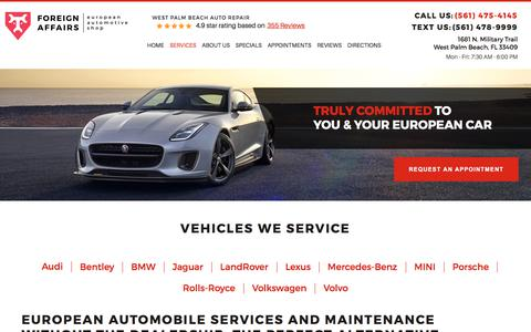 Screenshot of Services Page foreignaffairsauto.com - Maintain your car in West Palm Beach FL | Foreign Affairs Auto - WEST PALM BEACH AUTO REPAIR - captured Aug. 20, 2018