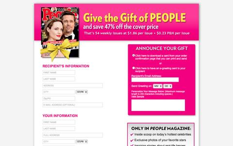 Screenshot of Landing Page people.com - Give the Gift of PEOPLE - captured Sept. 24, 2016