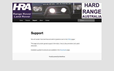 Screenshot of Support Page hardrange.com - Support | Hard Range Australia - captured Oct. 2, 2014