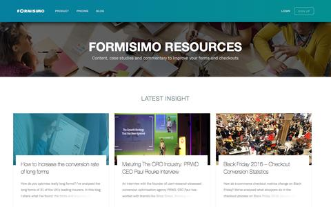 Screenshot of Blog formisimo.com - Formisimo Blog | Form and Checkout Analytics - captured April 9, 2017