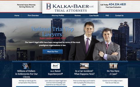 Screenshot of Home Page the-atlanta-injury-lawyer.com - Atlanta Personal Injury Lawyer I Kalka & Baer LLC - captured Oct. 6, 2014