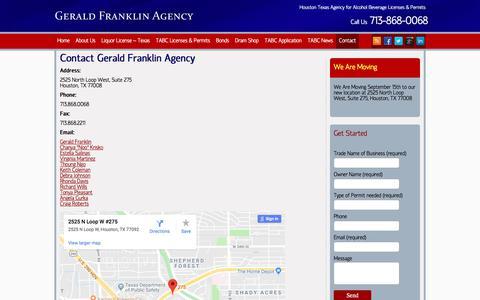 Screenshot of Contact Page geraldfranklinagency.com - Contact - Gerald Franklin, Texas Liquor License Agency - captured July 13, 2018