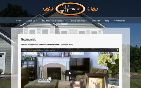 Screenshot of Testimonials Page metrosehomes.com - Testimonials - Custom Homes Rochester - captured Feb. 13, 2016