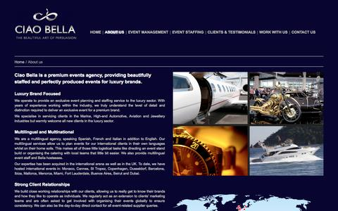 Screenshot of About Page ciaobella-events.com - A premium events agency, providing beautifully staffed produced events - captured Sept. 29, 2014